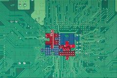 абстрактная головоломка зеленого цвета цепи доски предпосылки Стоковые Фотографии RF