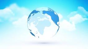 Абстрактная голубая земля планеты глобуса с темой рая облаков