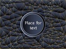 Абстрактная голубая и черная предпосылка полигона с линиями золота Текстура вектора геометрическая, с космосом для текста бесплатная иллюстрация