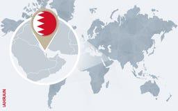 Абстрактная голубая карта мира с увеличиванным Бахрейном Бесплатная Иллюстрация