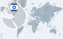 Абстрактная голубая карта мира с увеличиванным Израилем Иллюстрация вектора