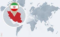 Абстрактная голубая карта мира с увеличиванным Ираном Иллюстрация вектора