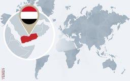 Абстрактная голубая карта мира с увеличиванным Йеменом Иллюстрация штока