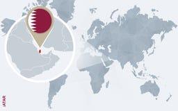 Абстрактная голубая карта мира с увеличиванным Катаром Иллюстрация вектора