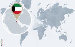 Абстрактная голубая карта мира с увеличиванным Кувейтом Иллюстрация вектора