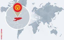 Абстрактная голубая карта мира с увеличиванным Кыргызстаном Бесплатная Иллюстрация
