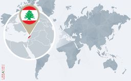 Абстрактная голубая карта мира с увеличиванным Ливаном Иллюстрация штока