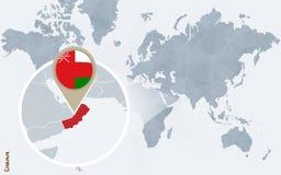 Абстрактная голубая карта мира с увеличиванным Оманом Иллюстрация вектора