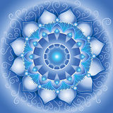 абстрактная голубая картина мандала Стоковые Изображения