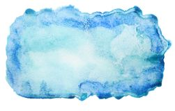 Абстрактная голубая предпосылка акварели изолированная на белизне стоковое фото