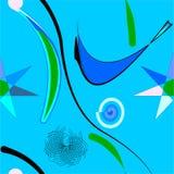 Абстрактная голубая предпосылка, причудливые красочные формы, безшовная картина 18-44 Стоковая Фотография RF
