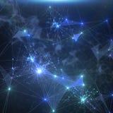 Абстрактная голубая предпосылка сетевого подключения Стоковое Изображение RF