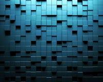 Абстрактная голубая стена предпосылки с параметрической кубической картиной Стоковое Изображение