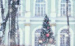 Абстрактная городская предпосылка ландшафта рождества Стоковое фото RF
