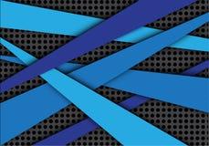 Абстрактная голубая линия перекрытие на векторе предпосылки серого дизайна картины сетки круга современном творческом Стоковые Фотографии RF