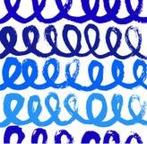 Абстрактная голубая картина краски с линиями чернил Стоковое фото RF