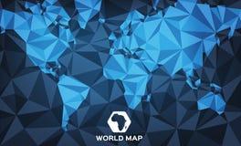 Абстрактная голубая концепция карты мира Бесплатная Иллюстрация