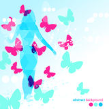 Абстрактная голубая предпосылка бабочек Стоковые Изображения RF