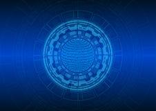 Абстрактная голубая предпосылка круга и технологии; концепция технологии стоковое фото rf