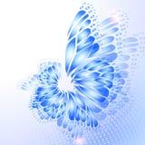 Абстрактная голубая предпосылка с бабочкой Стоковая Фотография RF