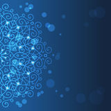 Абстрактная голубая предпосылка с орнаментом мандалы Стоковые Фотографии RF