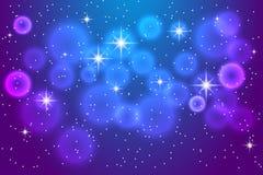 Абстрактная голубая предпосылка с сияющими звездами Стоковые Изображения RF