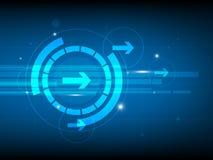 Абстрактная голубая предпосылка цифровой технологии круга клавиши правой стрелки, футуристическая предпосылка концепции элементов