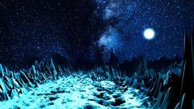 Абстрактная долина в неоновом свете сердитой Космос компьютера с долиной острых валунов загоренных ярким светом  иллюстрация вектора