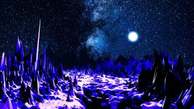 Абстрактная долина в неоновом свете сердитой Космос компьютера с долиной острых валунов загоренных ярким светом  бесплатная иллюстрация