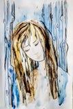 Абстрактная девушка чертежа в дожде Стоковое Изображение