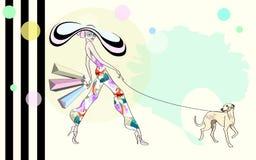 Абстрактная девушка эскиза, собака, хозяйственные сумки, Стоковая Фотография