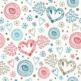 Абстрактная декоративная безшовная предпосылка с сердцами мухы Бесконечная картина doodle Стоковое Изображение