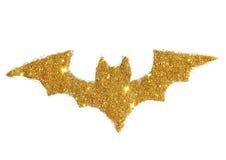 Абстрактная летучая мышь золотого яркого блеска, праздничного символа хеллоуина Стоковые Изображения RF