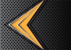 Абстрактная желтая линия серебра стрелки на векторе предпосылки темного дизайна сетки круга современном футуристическом Стоковая Фотография RF