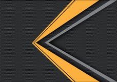 Абстрактная желтая серая стрелка на предпосылке черного дизайна сетки круга современной футуристической Стоковое Фото
