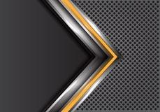 Абстрактная желтая серебряная стрелка с серым пустым пространством на векторе предпосылки дизайна сетки круга современном футурис Стоковые Изображения RF