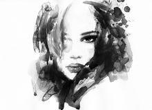 абстрактная женщина портрета экран имитации способа компьютера предпосылки стоковые фото