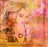 абстрактная женщина портрета grunge Стоковые Фото