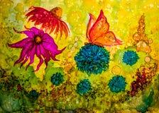 Абстрактная жидкостная картина с текстурой Стоковое Изображение