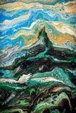 Абстрактная жидкостная картина с клетками, зелеными Стоковые Изображения RF
