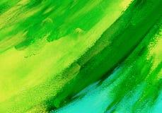 Абстрактная зеленая акриловая предпосылка краски руки Стоковые Изображения RF