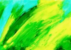 Абстрактная зеленая акриловая предпосылка краски руки Стоковое Изображение RF