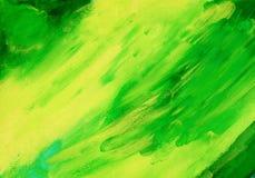 Абстрактная зеленая акриловая предпосылка краски руки Стоковое фото RF