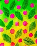 Абстрактная зеленая предпосылка листьев деревьев и розовых ягод в стиле акварели иллюстрация вектора