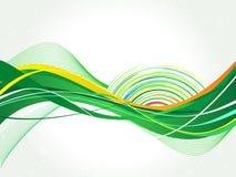 Абстрактная зеленая иллюстрация волн-вектора Стоковые Изображения