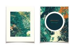 Абстрактная зеленая оранжевая карточка Стоковое Изображение RF