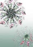 Абстрактная зеленая предпосылка с цветками красной весны Стоковое Изображение