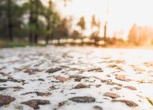 абстрактная зима предпосылки Камешки покрытые с снегом Стоковые Изображения