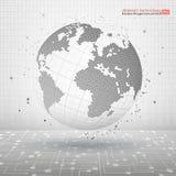 абстрактная иллюстрация вектора Планета технологии Символическое изображение пунктирных линий и точек сферы Самомоднейшая принцип иллюстрация штока