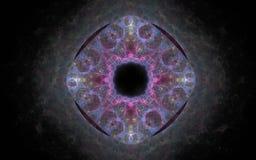 Абстрактная иллюстрация покрашенной диаграммы в форме глаза с радужкой на черной предпосылке Стоковое Изображение RF